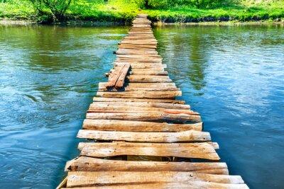 Fototapet Gamla träbron genom floden