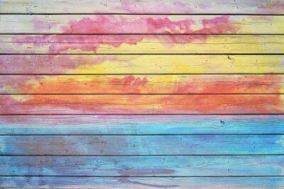 Fototapet Gamla träskiva i regnbågens färger