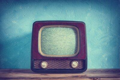 Fototapet Gamla vintage TV med trälåda