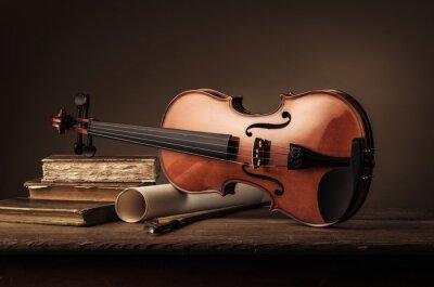 Fototapet Gamla violin stilleben med böcker