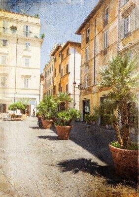 Fototapet gammal gata i Rom. Italien. Bild i konstnärlig retrostil.