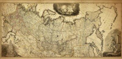 Fototapet Gammal karta av Ryssland, tryckt 1786