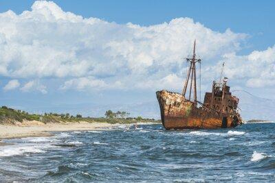 Fototapet Gammal lantlig stora fartyg