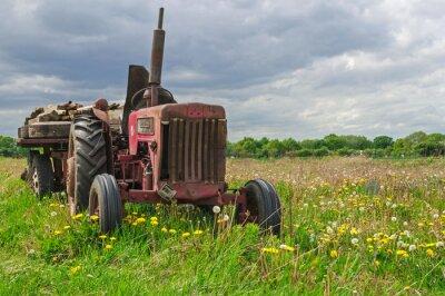 Fototapet Gammal övergiven röd traktor på en gård i fält