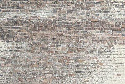 Fototapet Gammal röd tegelvägg med vit färg bakgrund textur