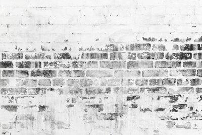 Fototapet Gammal tegelvägg med skadade vita färgskiktet