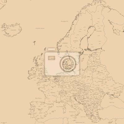 Redigerbar Karta Sverige.Gammal Vektor Karta Over Europa Contour Detaljerad Europa