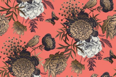 Fototapet Garden flowers peonies on a coral background. Luxury seamless pattern.