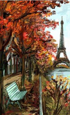 Fototapet Gata i höst Paris. Eiffel torn -sketch illustration
