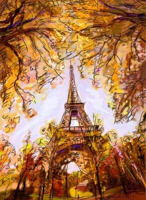 Fototapet Gata i Paris. Eiffeltornet - illustration