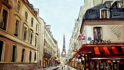 Fototapet Gata i Paris - illustration