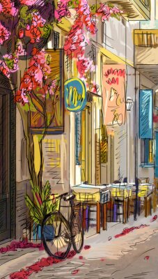 Fototapet Gata i Roma - illustration
