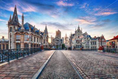 Fototapet Gent, Belgien på dagen, Ghent gamla stan