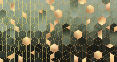Fototapet Geometric abstraction of hexagons in green tones on a raised background with gold elements.