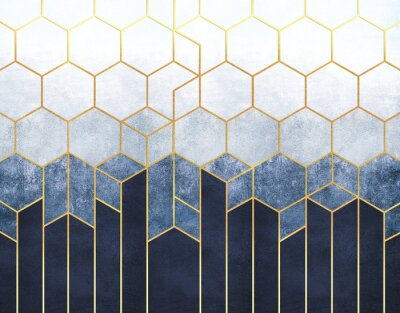 Fototapet Geometric abstraction of hexagons on a blue relief background with gold elements. Fresco for interior printing, Wallpapers.