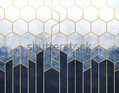 Fototapet Geometrisk abstraktion av sexhörningar på en blå lättnadsbakgrund med guldbeståndsdelar. Fresco för inredning, bakgrundsbilder.