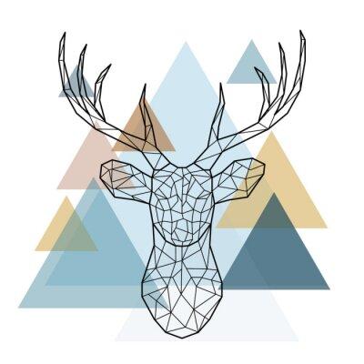 Fototapet Geometrisk hjorthuvud. Skandinavisk stil