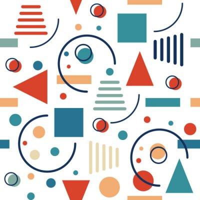 Fototapet Geometrisk sömlös mönster. Cirklar, trianglar och linjer. Vektor retro design.