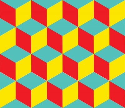 Fototapet Geometrisk vektor bakgrund. Kub former. Optisk illusion