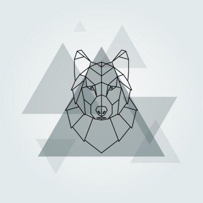 Fototapet Geometrisk vektor djur grå varg huvud bakgrund.