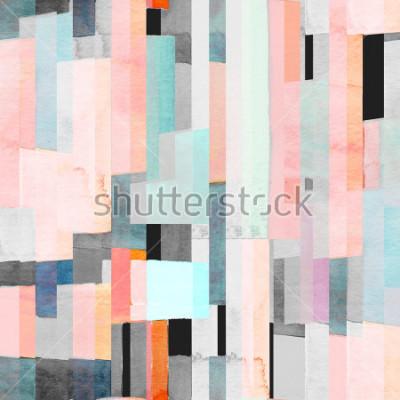 Fototapet Geometriskt sömlöst mönster med mångfärgade ränder och krickor. Trendig abstrakt bakgrund.