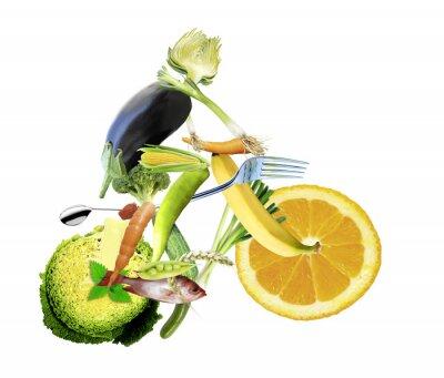 Fototapet gesunde Ernährung und sport