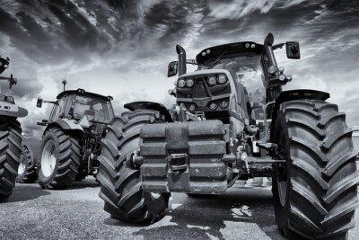 Fototapet gigantiska traktorer jordbruk och däck