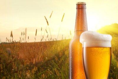 Fototapet Glas öl och en flaska mot vetefält och solnedgång