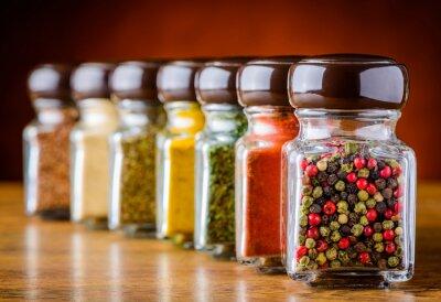 Fototapet Glas Peppar och kryddor