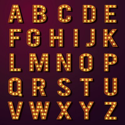 Fototapet Glödlampa alfabet Set