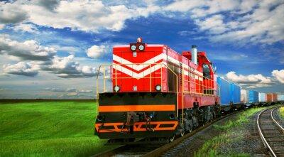 Fototapet godståg med utrymme för text