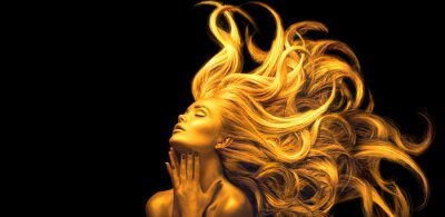 Fototapet Gold Woman. Beauty fashion model girl with Golden make up, Long hair on black background. Gold glowing skin and fluttering hair. Metallic, glance Fashion art portrait, Hairstyle. Fashion art design
