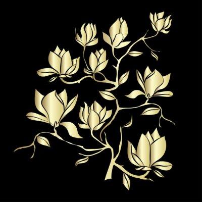 Fototapet Golden blommande gren av Magnolia på svart bakgrund vektor illustration