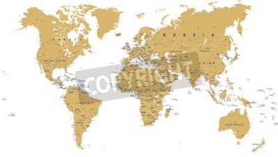 Fototapet Golden World Map - gränser, länder, städer och glober - illustration