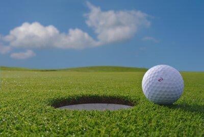 Fototapet golf hål och boll