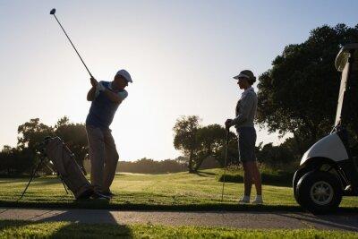 Fototapet Golf par förberedelse för dagen
