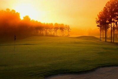 Fototapet golfbana i gryningen