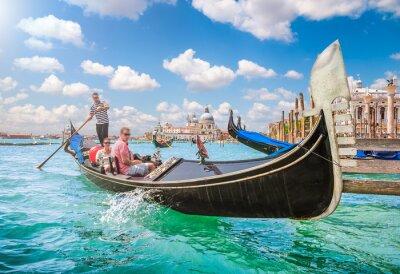 Fototapet Gondol på Canal Grande i Venedig, Italien