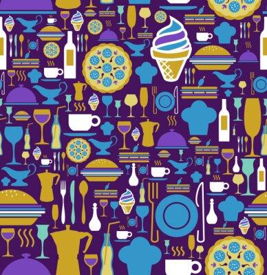 Fototapet Gourmet ikonuppsättning sömlösa mönster.