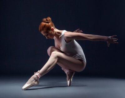 Fototapet Graceful smal ballerina dansar i studio
