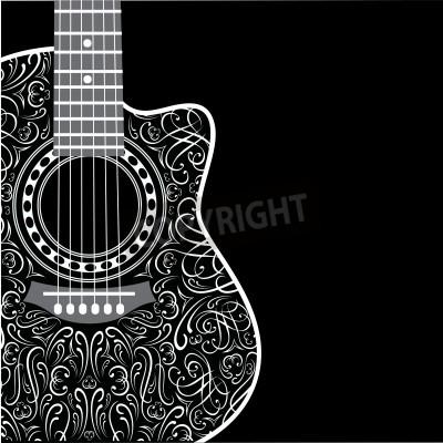 Fototapet gradient bakgrund med klippt gitarr och elegant prydnad