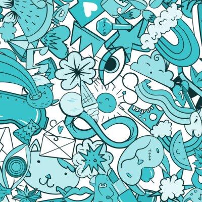 Fototapet Graffiti mönster med urban livsstil linje ikoner. Crazy doodle abstrakt vektor bakgrund. Trendy linjär stil collage med bisarra gatukonstelement.