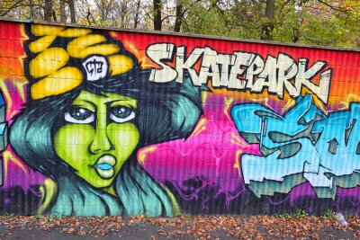 Fototapet Graffiti tegelvägg konst i Tyskland