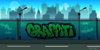 Fototapet Graffiti vägg bakgrund, urban konst