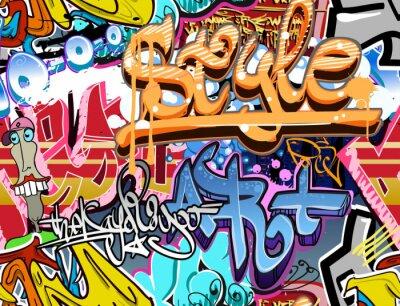 Fototapet Graffiti vägg. Urban konst vektor bakgrund. smidig konsistens