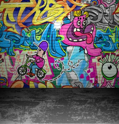Fototapet Graffiti vägg urbana gatukonst målning