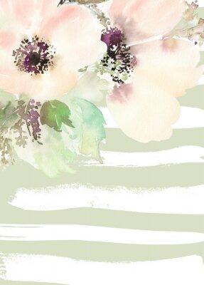 Fototapet Gratulationskort med blommor. Pastellfärger. Handgjorda.