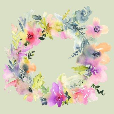 Fototapet Gratulationskort med blommor. Pastellfärger. Handgjorda. Akvarellmålning. Bröllop, födelsedag, mors dag. Möhippa.