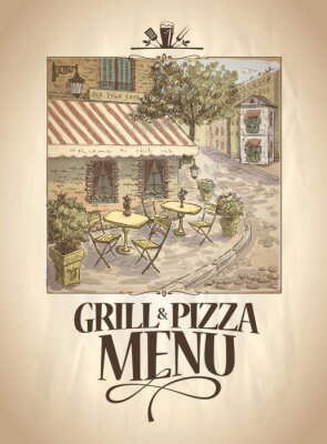 Fototapet Grill och Pizza meny med grafisk illustration av en gata café.