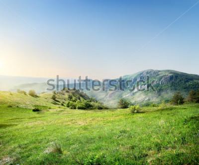 Fototapet Grön äng på bakgrunden av Krim bergen